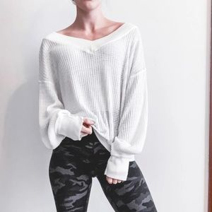 Free People Southside Waffle Knit Thermal Top